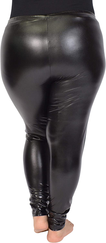 Stretch is Comfort Womens Teamwear Plus Size Shiny Metallic Leggings