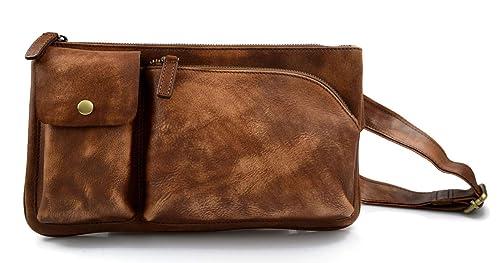 Monedero de cuero bolso del monedero de piel marrón bolso ...