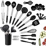 Juego de utensilios de cocina, 34 utensilios de cocina de silicona con soporte, resistentes al calor, antiadherentes, sin BPA