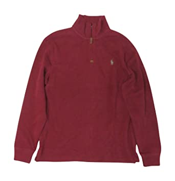 de25f43f RALPH LAUREN Polo Mens Quarter Zip Sweater Burgundy, Medium