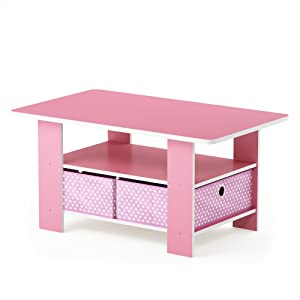 FURINNO Andrey Coffee Table with Bin Drawer, Pink/Light Pink