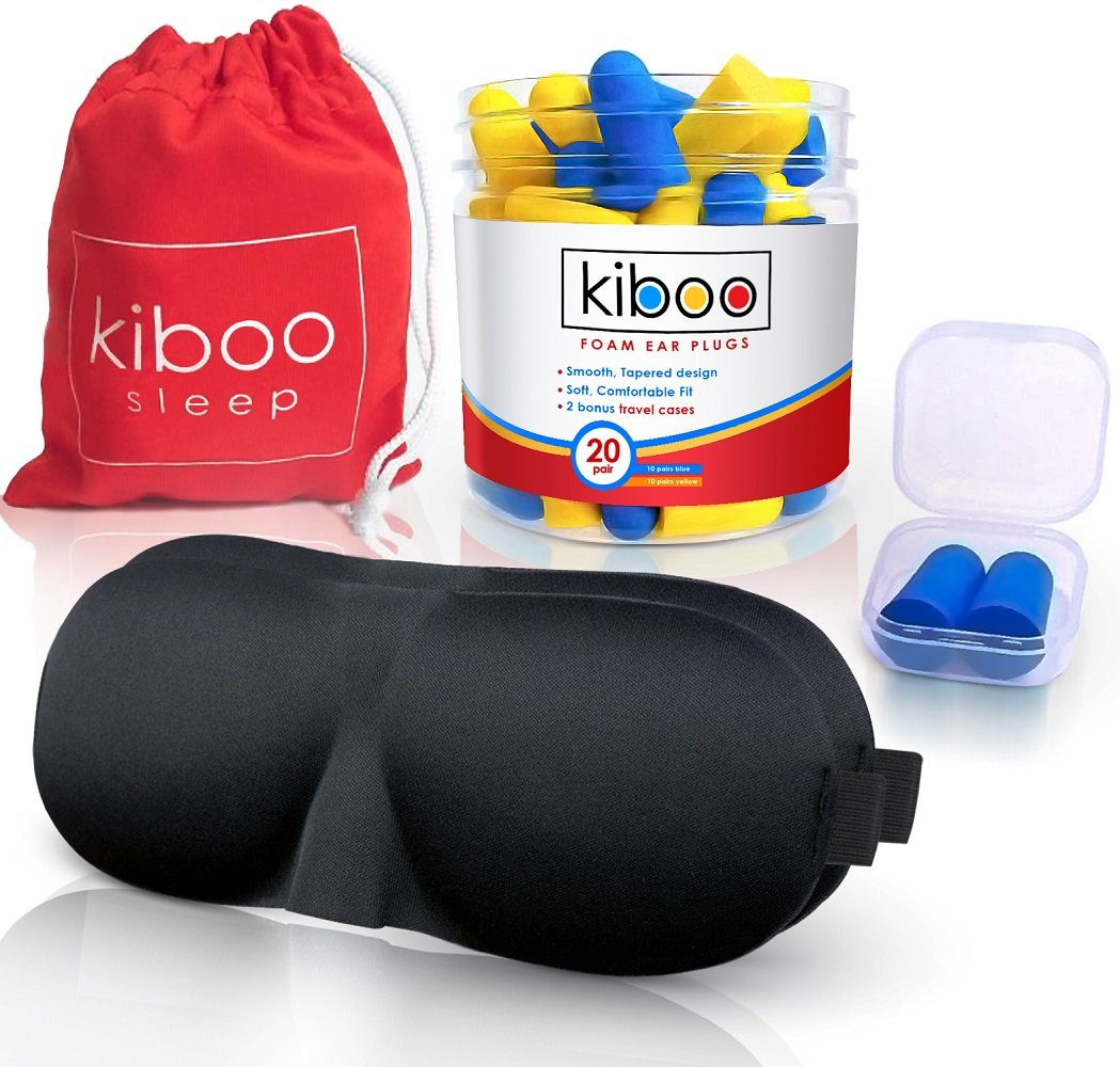 KIBOO 20-Pairs Soft Ear Care & Noise Reduction Earplugs with TWO Comfortable Sleep Masks, One Carry Pouch, Two Plastic Travel Cases for Plugs