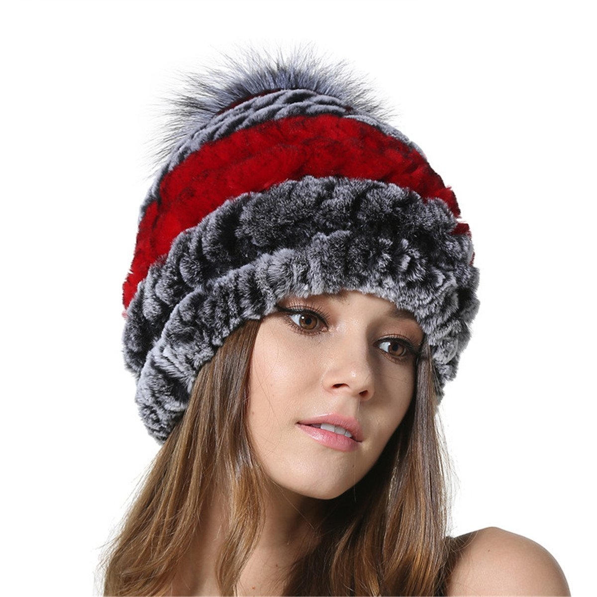 b61c860ea48 MEEFUR Womens Silver Fox Fur Ball Hat Winter Rex Rabbit Fur Knitted Beanies  With Genuine Fur Pom Pom Bobble Red Grey