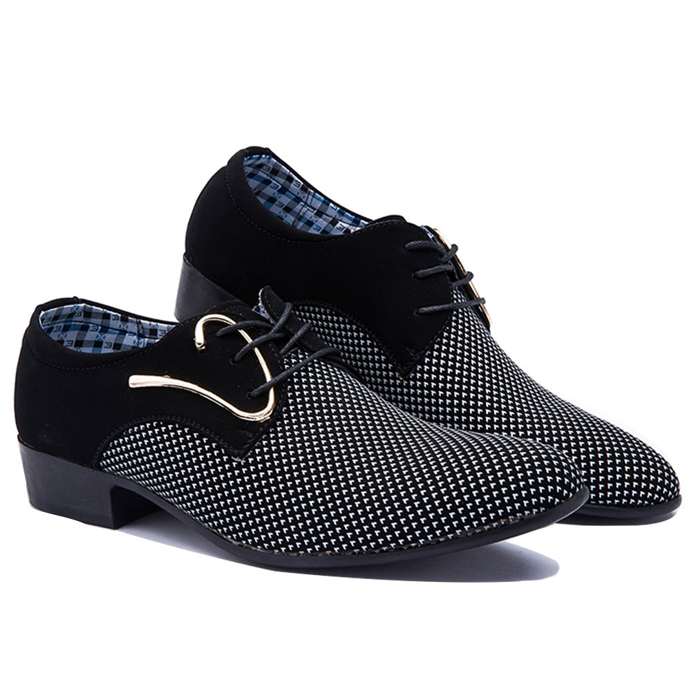 Blivener Mens Pointed Toe Suede Leather Dress Shoes Casual Oxford New