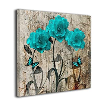 Kingsleyton Rustic Teal Brown Flowers Butterflies Giclee Canvas Print Wall  Art - for Living Room Decor and Painting Framed Artwork Office Gifts Art ...