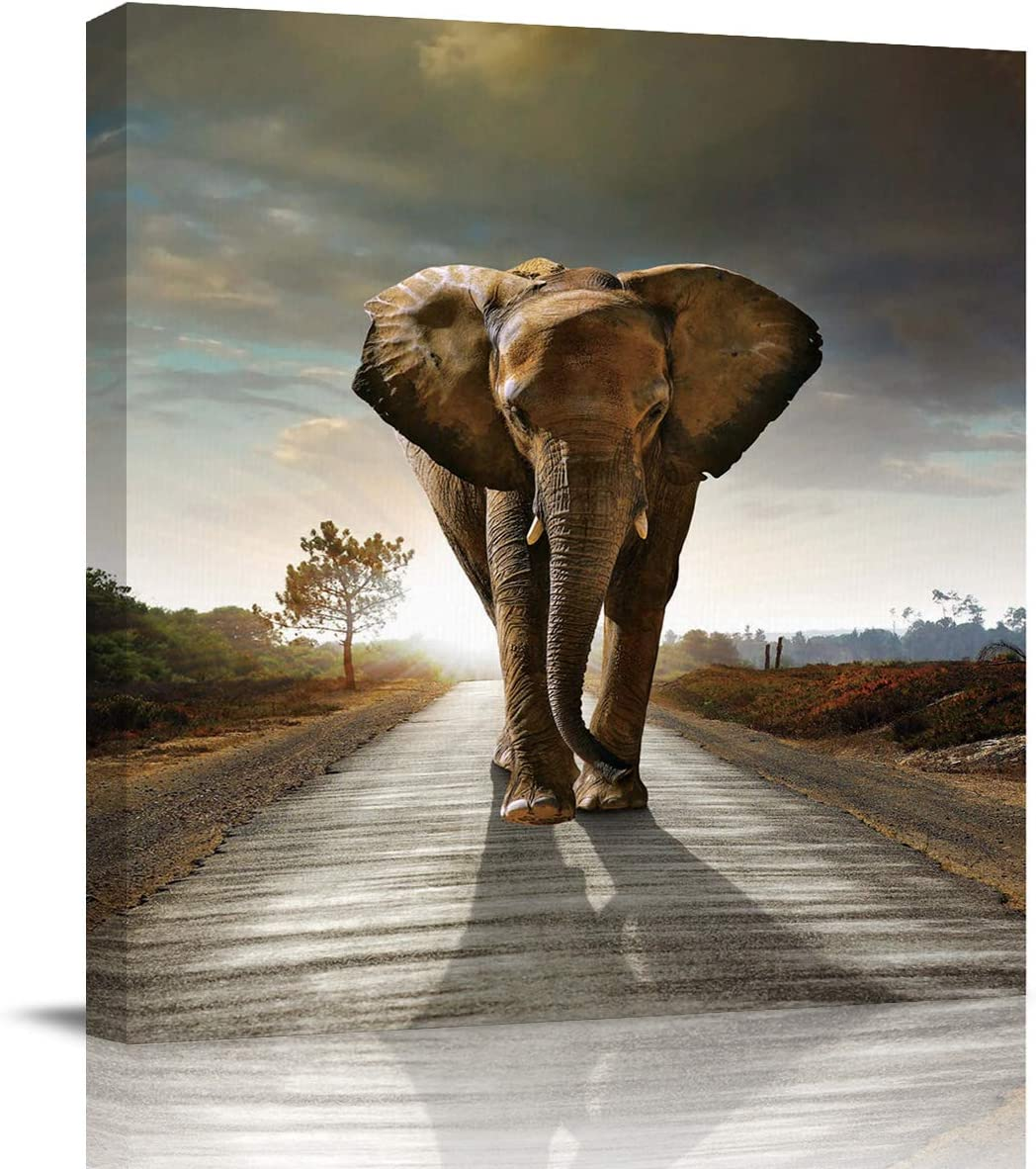 The Landscape of Elephant Art Prints Square Wall Art on Canvas,Modern Painting Pictures Artworks for Living Room Bedroom Office Hotel Home Decor,Stretched by Wooden Frame,Ready to Hang,12x12 Inch