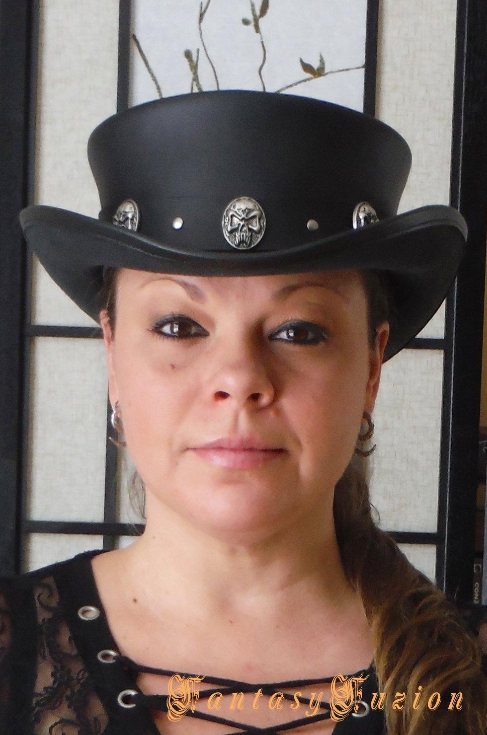 616f9c41d3c Amazon.com  Steampunk Hat Classic Rocker Skull Band Gothic Leather Standard  SHORT Top Hat  Handmade