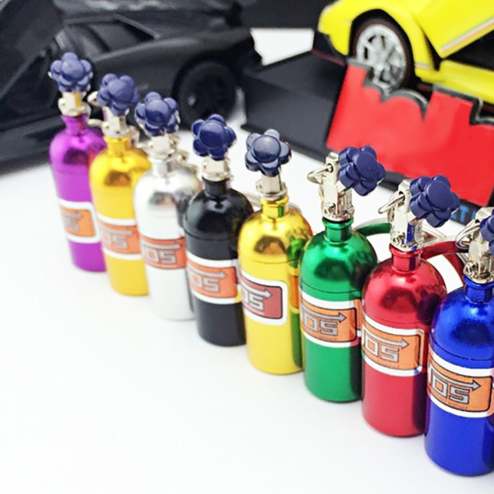 lyhhai Mini NOS Bottle Oxide Nitrous Pill Stash Box Auto Car Key Chain Keyring Keyfob Blue