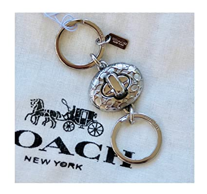 c17af953 COACH Signature C Turnlock Valet Key Ring Silver F65501