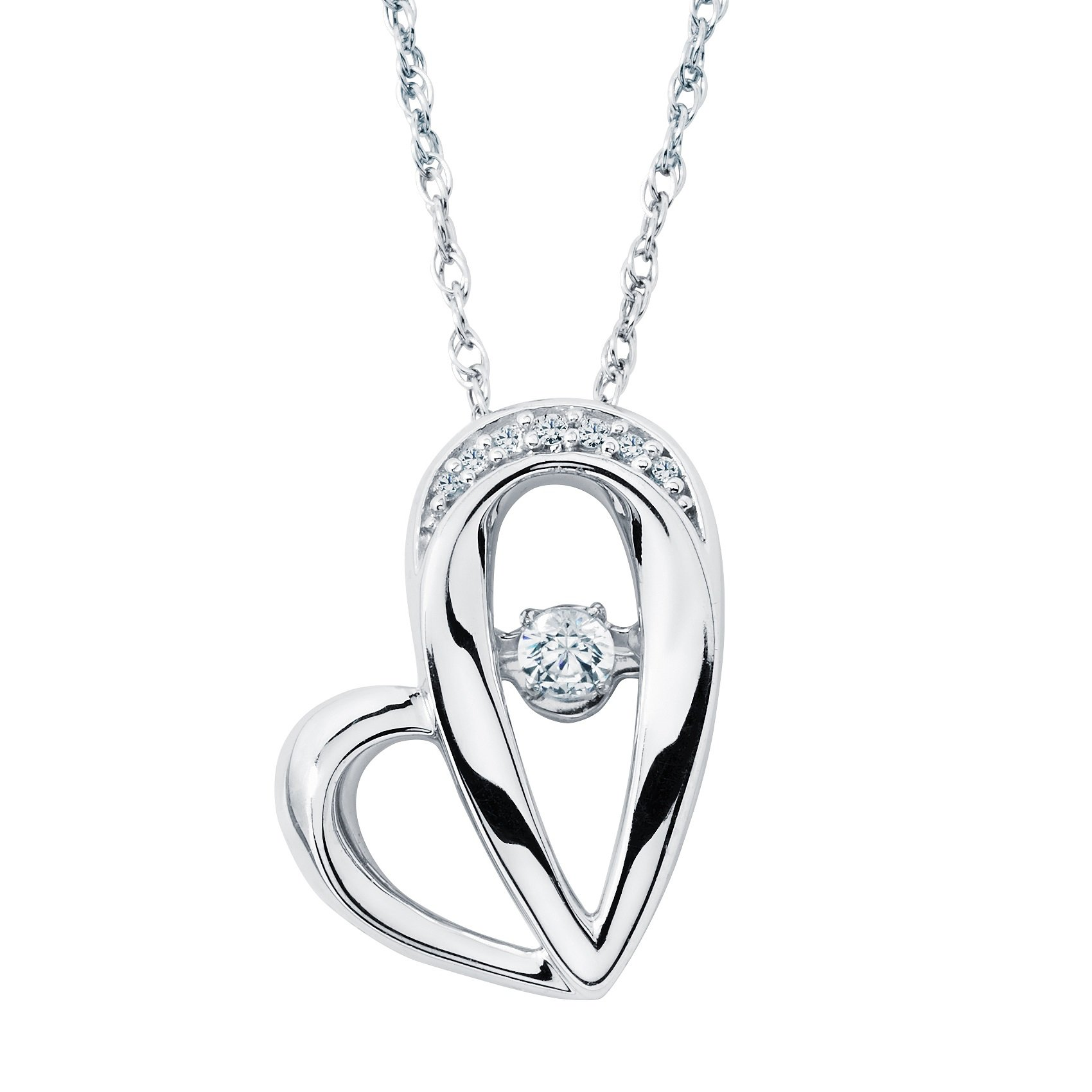 Brilliance in Motion 925 Sterling Silver 1/10 Ctw. Floating Diamond Open Heart Pendant Necklace with 18 Inch Chain