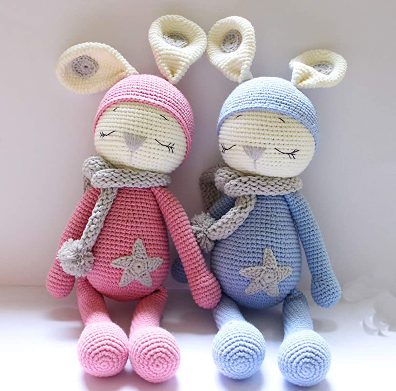 \u0421rochet bunny boy toy plush doll with set of clothes Gift for 5 year old girl Knitted Amigurumi bunny Stuffed rabbit toy for daughter