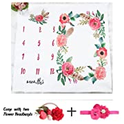 NinkyNonk Floral Baby Monthly Milestone Blanket Photo Props Set Newborn Photo Blanket Backdrop with Flower Headbands - Baby Shower Gift (Floral A)