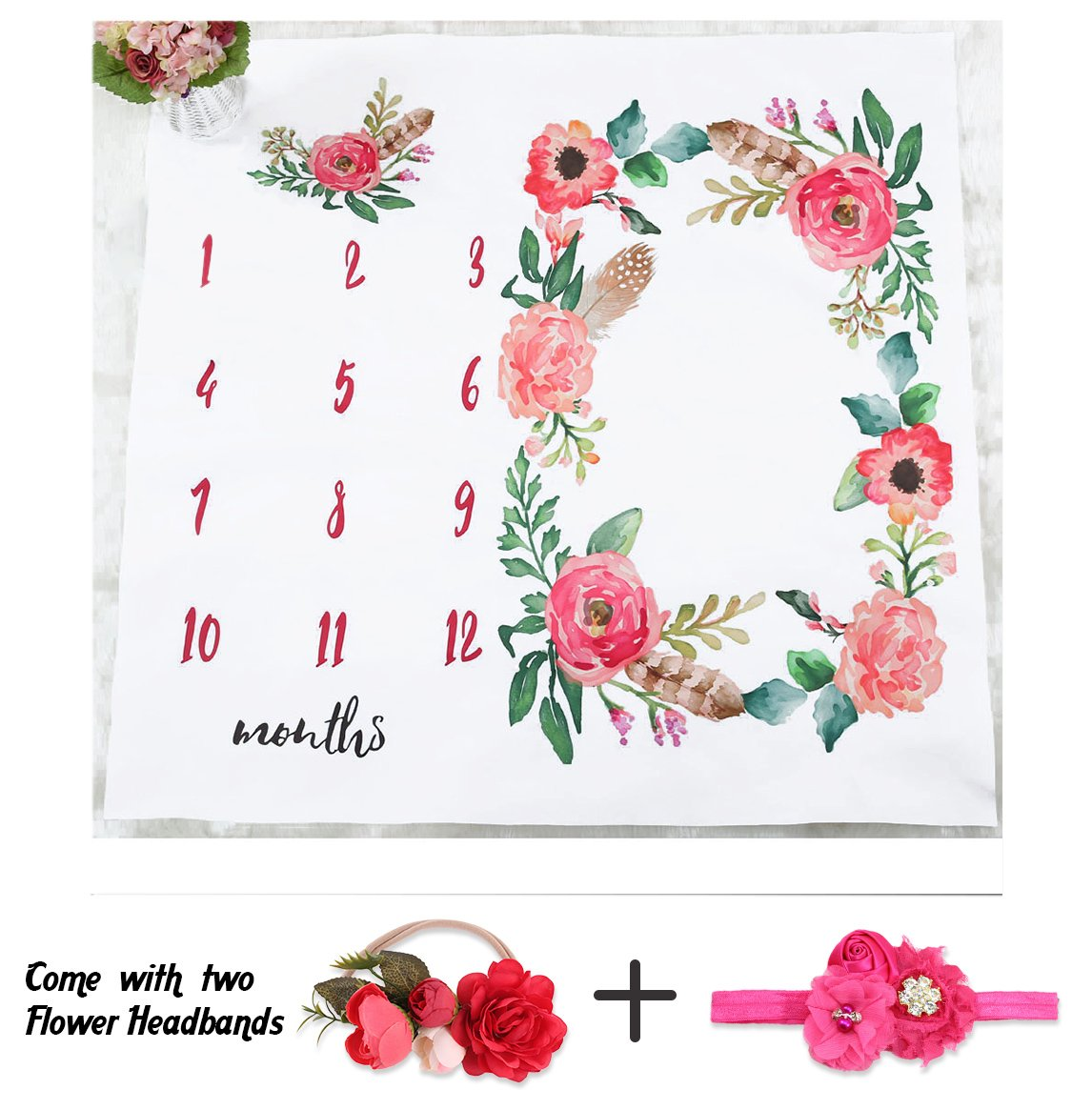 NinkyNonk Floral Baby Monthly Milestone Blanket Photo Props Set Newborn Photo Blanket Backdrop with Flower Headbands - Baby Shower Gift (A)
