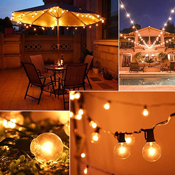 Lovinland 100Ft String Lights with 125 Pcs G30 Bulbs Indoor Outdoor Yard Lamp String Light