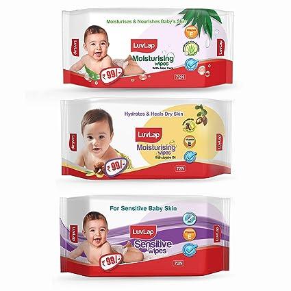 LuvLap Paraben Free Baby Wipes Combo Pack Aloe Vera + Jojoba + Sensitive  72 Wipes/Pack, Pack of 3  Wet Wipes