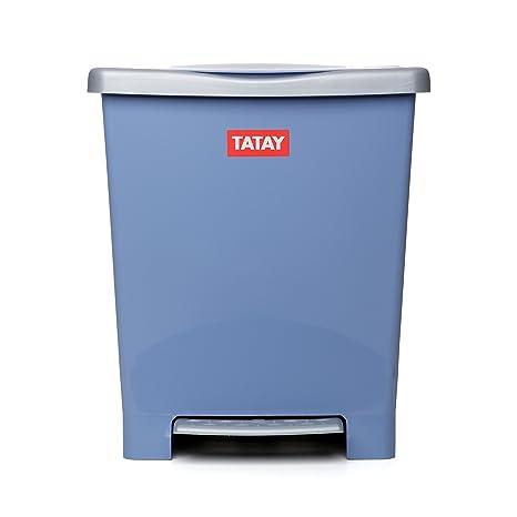 TATAY 1101400 - Millenium Cubo de Basura Cocina con Apertura a Pedal, 23 l de Capacidad, Plástico Polipropileno, Azul, 33,5 x 30 x 39 cm