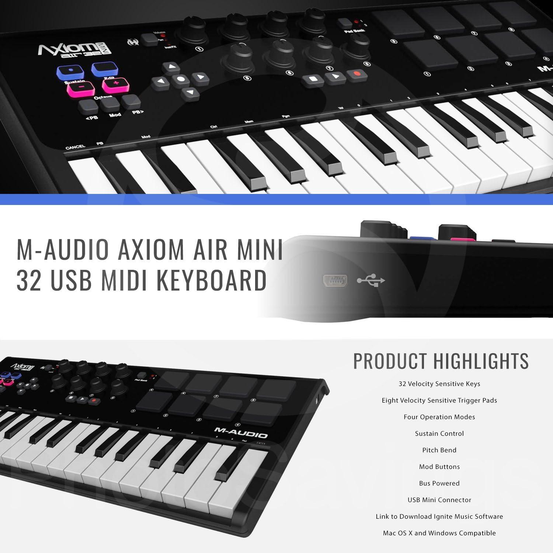 M-Audio Axiom Air Mini 32 USB MIDI teclado con Focusrite ...