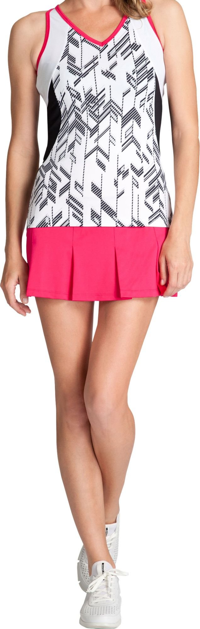 Tail Women's Judy V-Neck Top (Grey/White/Pink, XS)