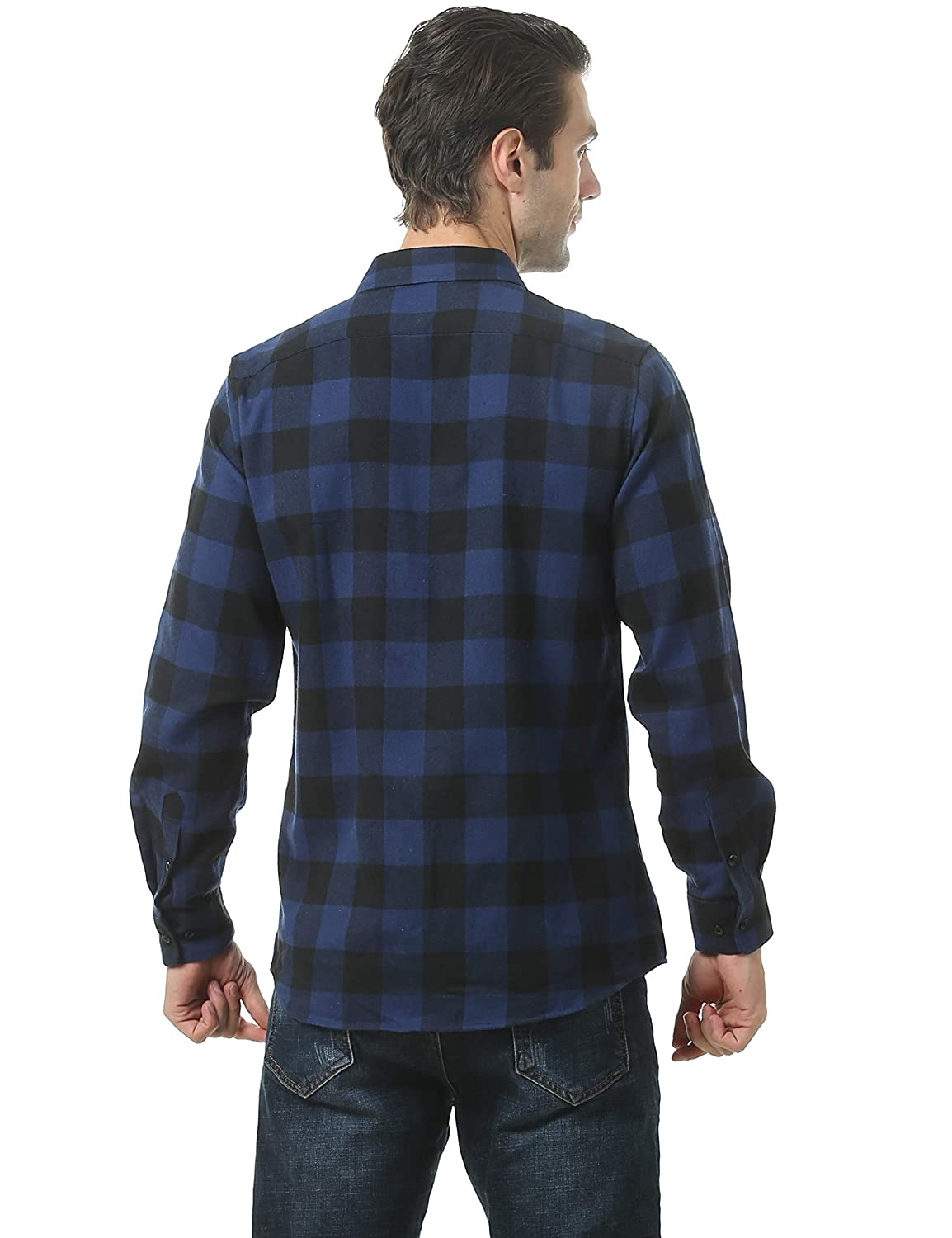 Leisurely Pace Mens Button Down Long Sleeve Buffalo Plaid Flannel Shirt