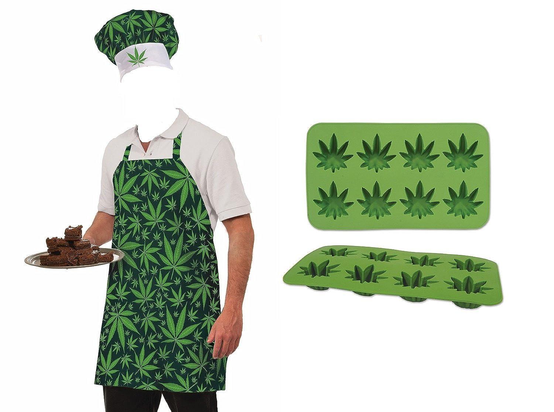 Pot Leaf Weed Marijuana Leaf Hat Apron Silicone Ice Food Mold Chef Costume Set Nicky Bigs Novelties 13449