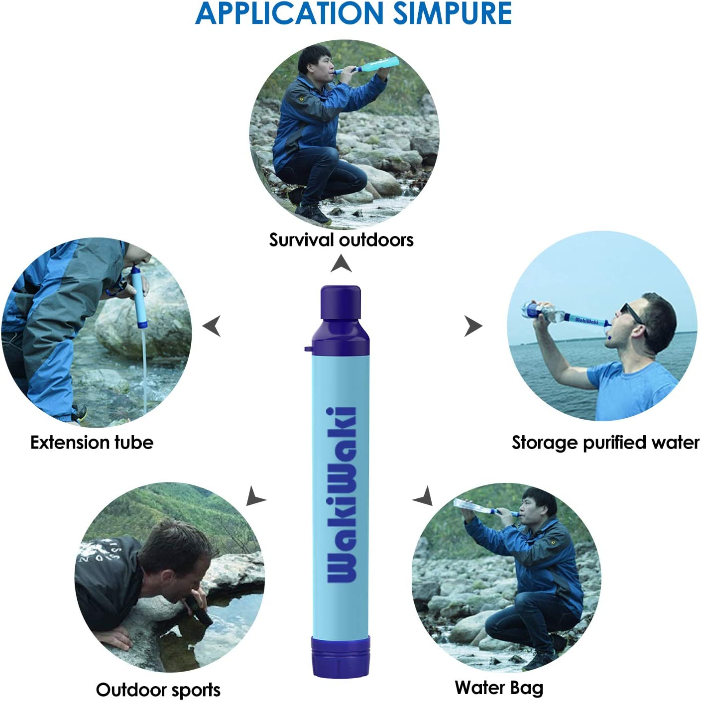 BPA Free Portable Water Purifier with 500ml Foldable Water Bottle Outdoor Survival Gear for Camping Hiking and Emergency SimPure Water Filter Straw
