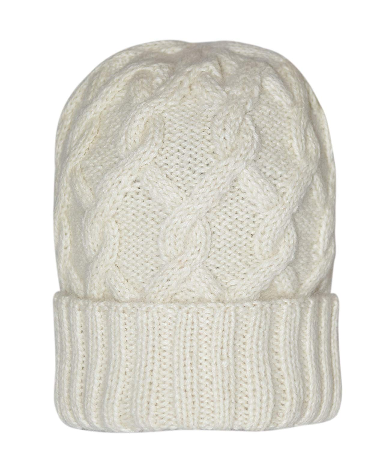 Invisible World Women's 100% Alpaca Wool Hat Knit Winter Beanie Snake Cable White Cap