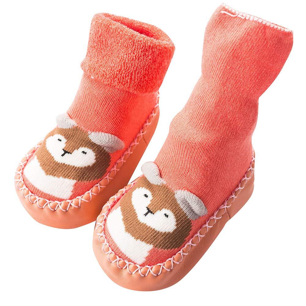 Vacally Newborn Baby Thicken Socks Cute Cartoon Floor Socks Anti-Slip Baby Step Socks Winter Warm Sox