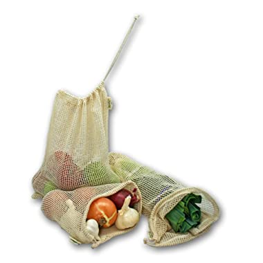 Simple Ecology Reusable Organic Cotton Mesh Grocery Shopping Produce Bags - Set of 6 (2 ea. XL, L, M) (heavy duty, washable, produce saver bags, food storage, bulk bin, tare weight tag, drawstring)