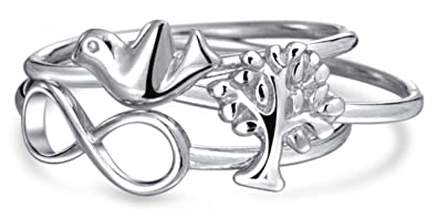 [Sponsored]Bling Jewelry Infinity Tree of Life Dove Stackable Midi Ring 925 Silver Gl6cKw