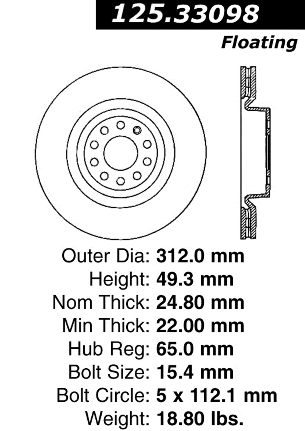 Centric 125.33098 Front Disc Brake Rotor