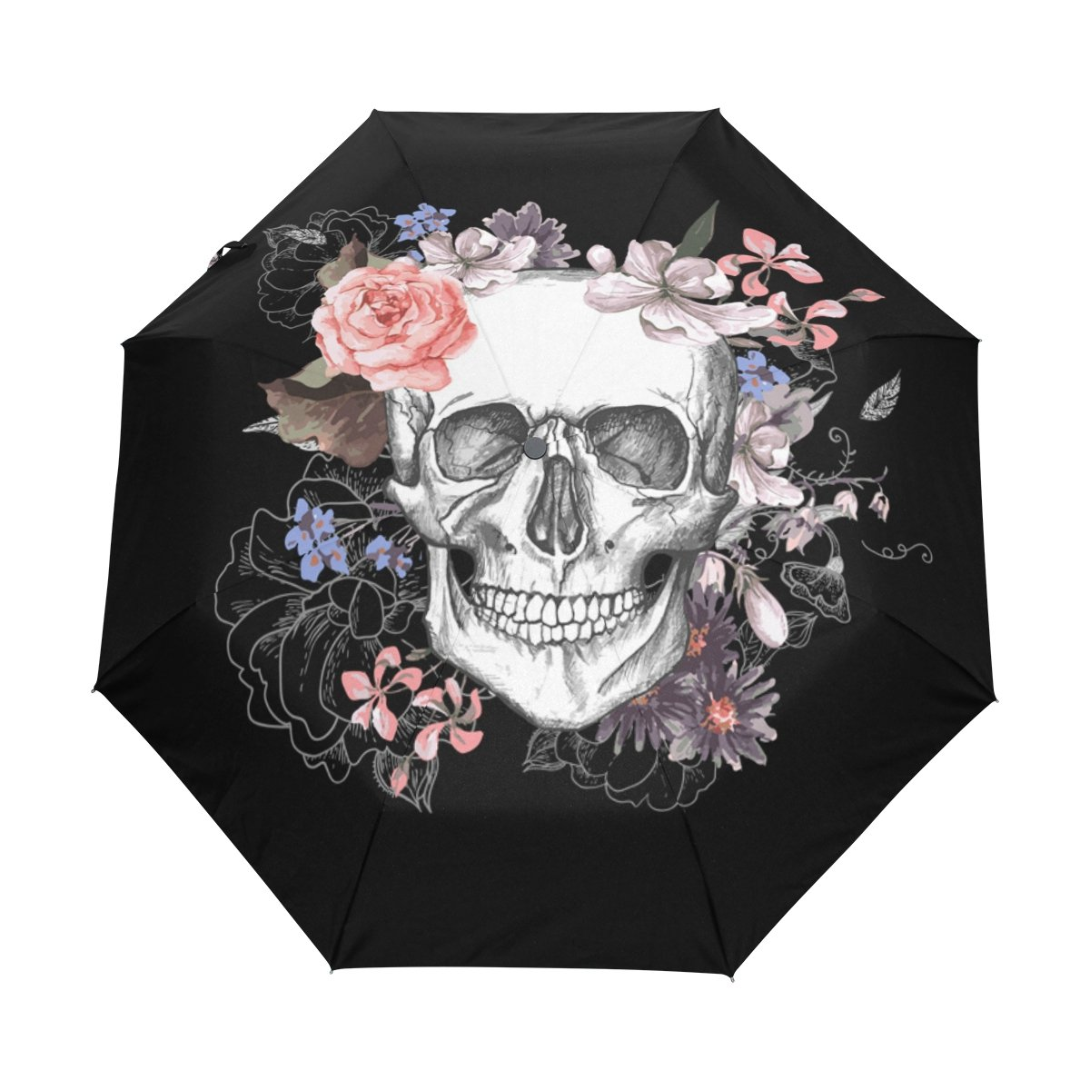 WOZO Floral Sugar Skull 3 Folds Auto Open Close Umbrella