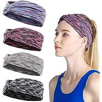 Sweat Hairbands for Yoga Workout Headbands for Women Soft Elastic 4pcs / Set