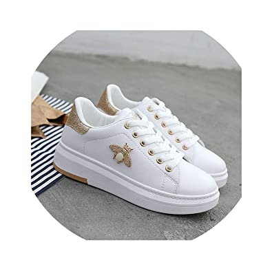 Amazon.com | Glad You Came Women Casual Shoes 2019 New Women Sneakers Fashion Breathable PU Leather Platform White Women Shoes Soft Footwears Rhinestone | ...