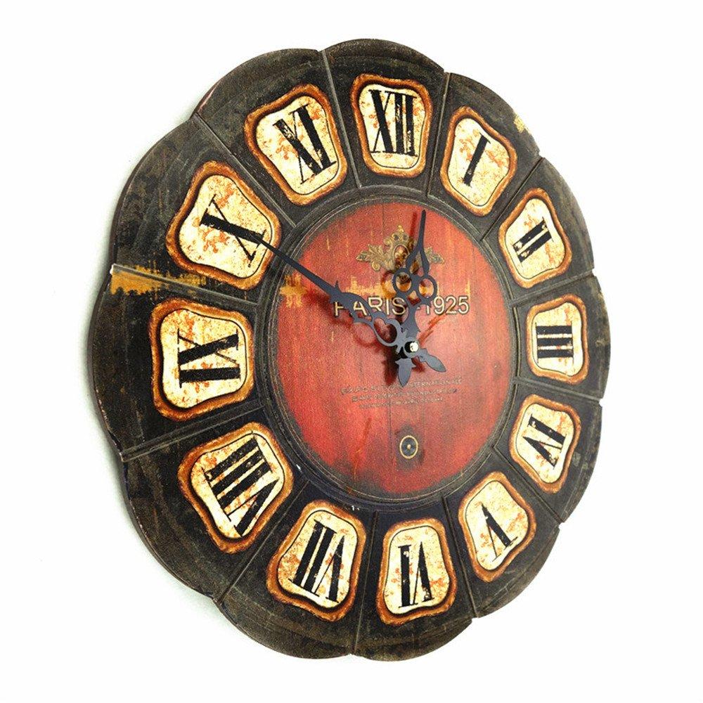YSRHome Nicht tickende lautlos Vintage Modernen Dekorativen 40 cm Massivholz Große Minimalistischen Quarz Wanduhren für Wohnzimmer Schlafzimmer Küche Büro, leicht zu Lesen