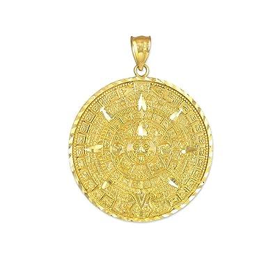Amazon 14k yellow gold aztec charm mayan calendar pendant 14k yellow gold aztec charm mayan calendar pendant 254 millimeters mozeypictures Images