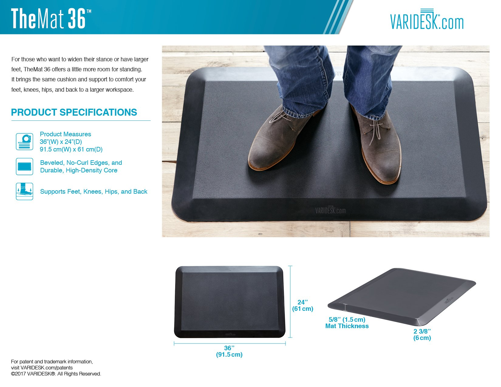 VARIDESK-Standing Desk Anti-Fatigue Comfort Floor Mat - Mat 36 by VARIDESK