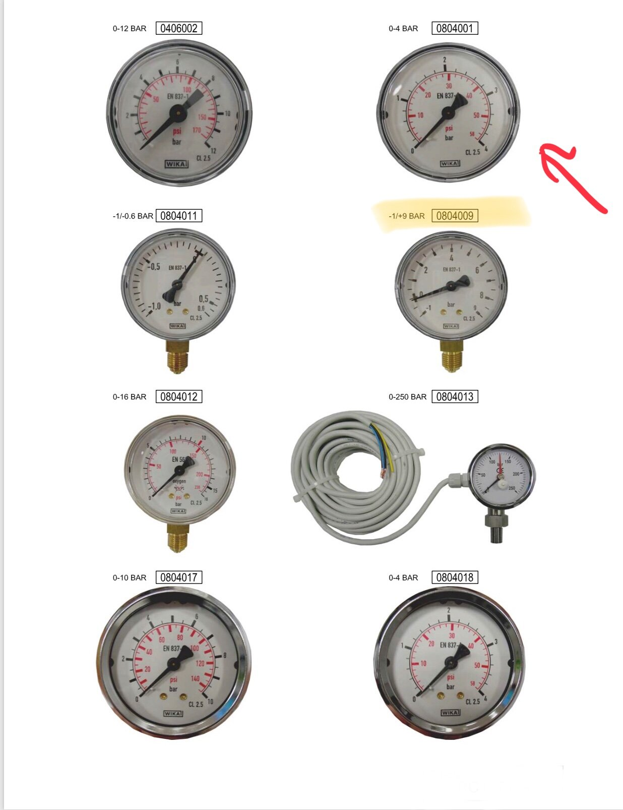 1/4'' Filter pressure gauge for Firbimatic 0804009, Realstar, and Union dry cleaning machines