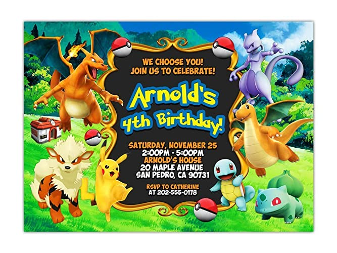Pokemon Birthday Party Invitations ANY AGE Custom