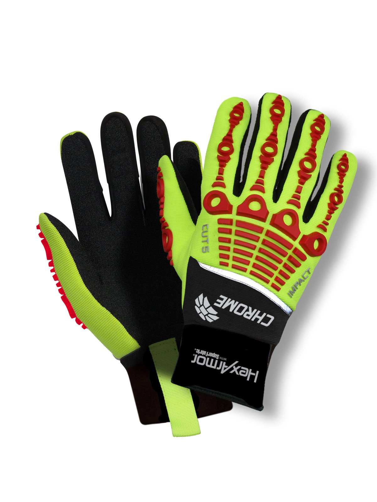 Cut Resistant Gloves, Yellow/Red, XL, PR