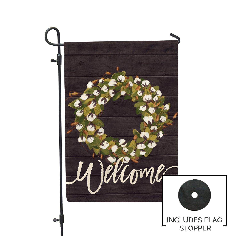 Second East Welcome Cotton Farmhouse Wreath Foil Garden Flag Outdoor Patio Seasonal Holiday