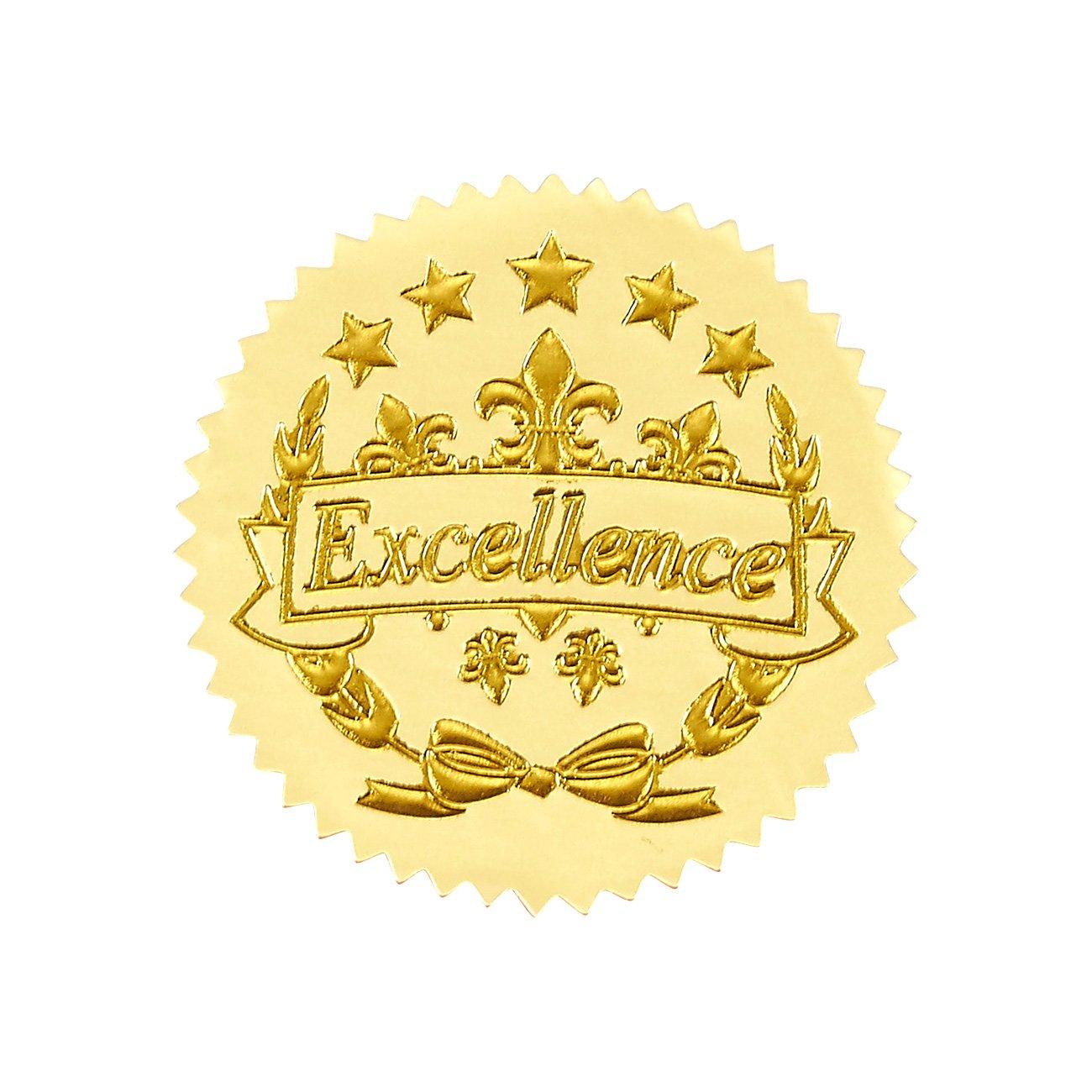 96Award stickers–Gold certificate Seals, eccellenza Star adesivi per Award certificati Best Paper Greetings