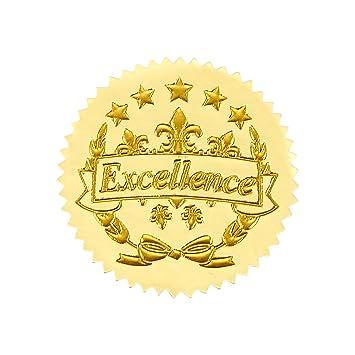 96 Award Stickers - Gold Certificate Seals, Excellence Star Stickers for  Award Certificates