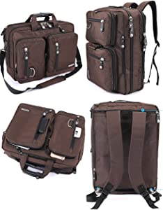 FreeBiz 18 Inches Multi-function Laptop Briefcase Backpack with Handle and Shoulder Strap Fits Up To 18.4 Inch Laptops (18.4 inches, Brown)
