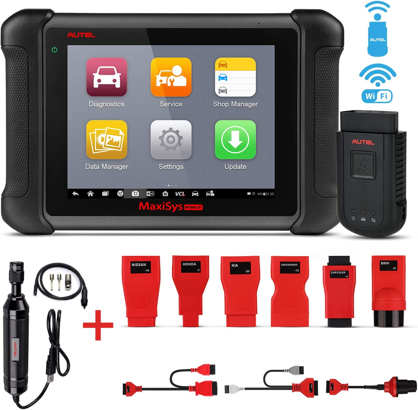 Autel MaxiSys MS906BT Automotive Scan Tool Car Diagnostic Scanner with ECU Coding, Active Test, IMMO Keys, OE-Level Diagnosis Oil Reset, EPB, SAS, DPF, ABS Bleeding MV108 Add-On