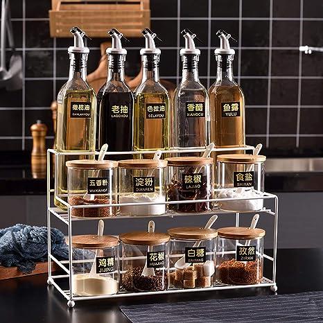 Spice Bottle Glass Oil Bottle Kitchen Supplies Soy Sauce Vinegar Bottle Stainless Steel Leak-Proof Seasoning Bottle