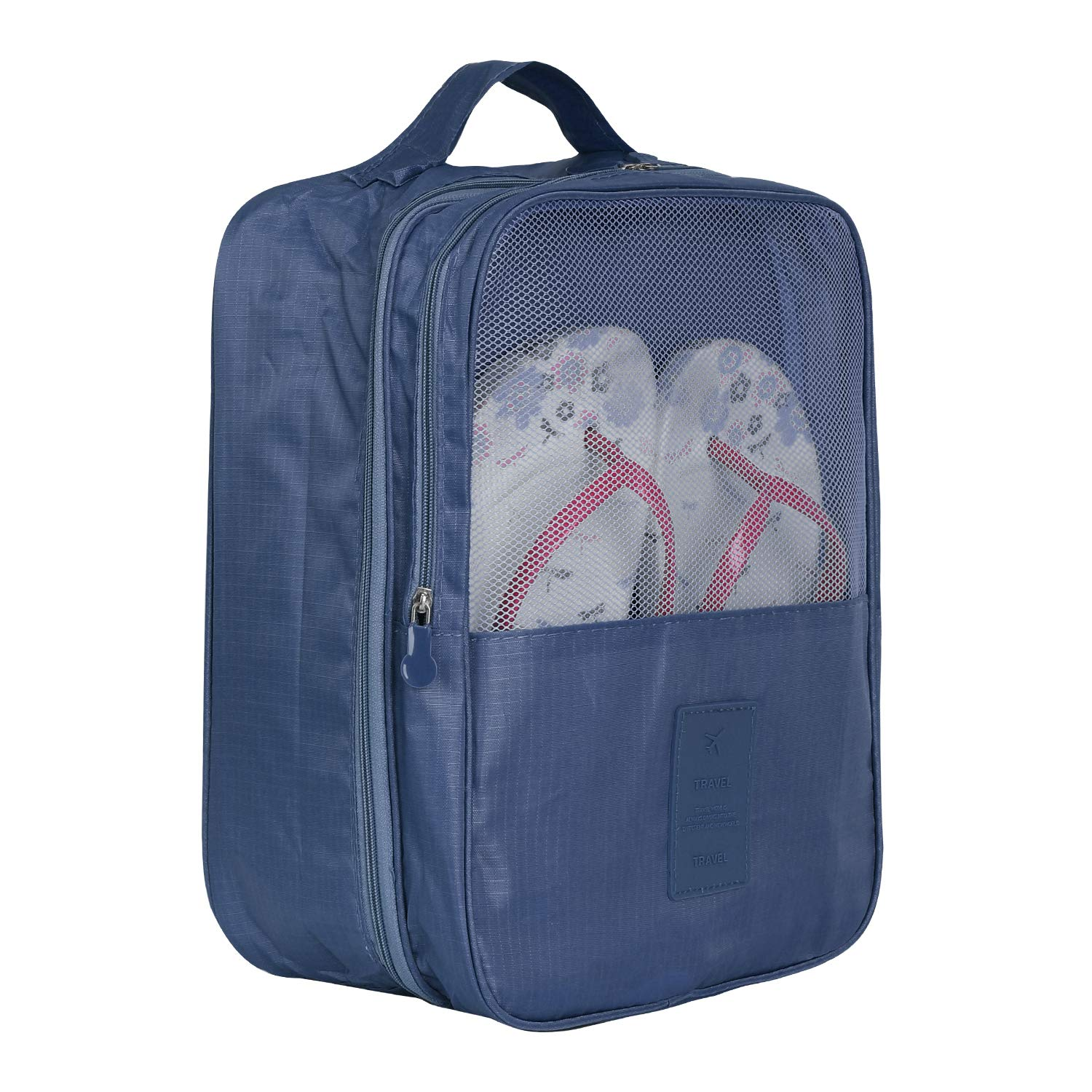 Promover Shoe Storage Bag Holds 3 Pair of Shoes for Travel and Daily Use(Navy Blue)