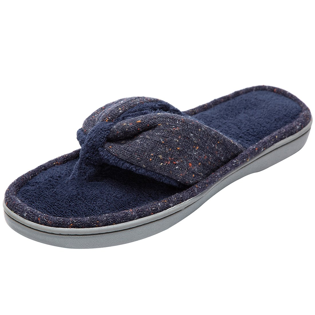 Women's Soft & Comfy Knitted Plush Fleece Lining Memory Foam Spa Thong Flip Flops House Slippers (Large/9-10 B(M) US, Navy Blue) by HomeTop (Image #2)