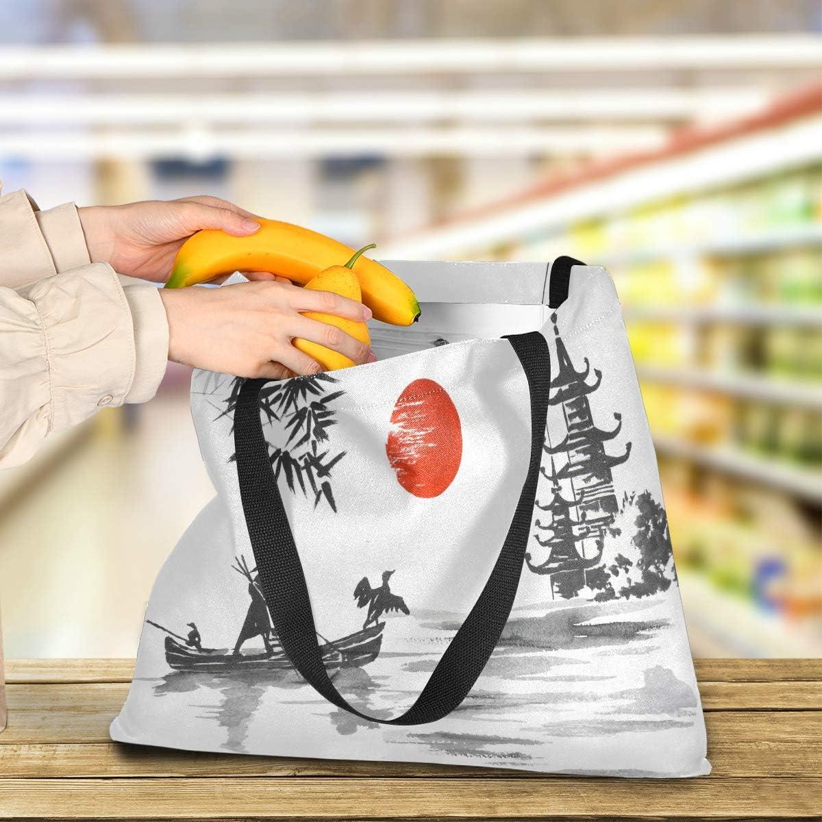 grande capacit/é sac /à main pour femme et homme sac /à bandouli/ère durable sac /à /épicerie QMIN Sac fourre-tout en toile japonaise zen orchid/ée en bambou r/éutilisable