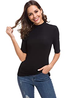 a6b2f390 Womens Long Sleeve/Half Sleeve/Sleeveless Mock Turtleneck Crew Stretch Slim  T Shirt Layer