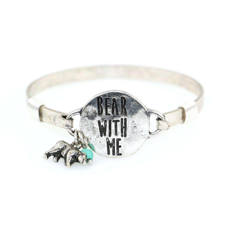 """Bear with Me"" Handmade Beautiful Bangle Bracelet with Bear Charm and Bead"